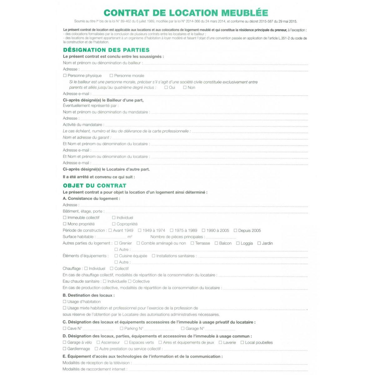 1X Contrat De Location Pour Locaux Meublés Exacompta encequiconcerne Contrat De Location Meublé Gratuit