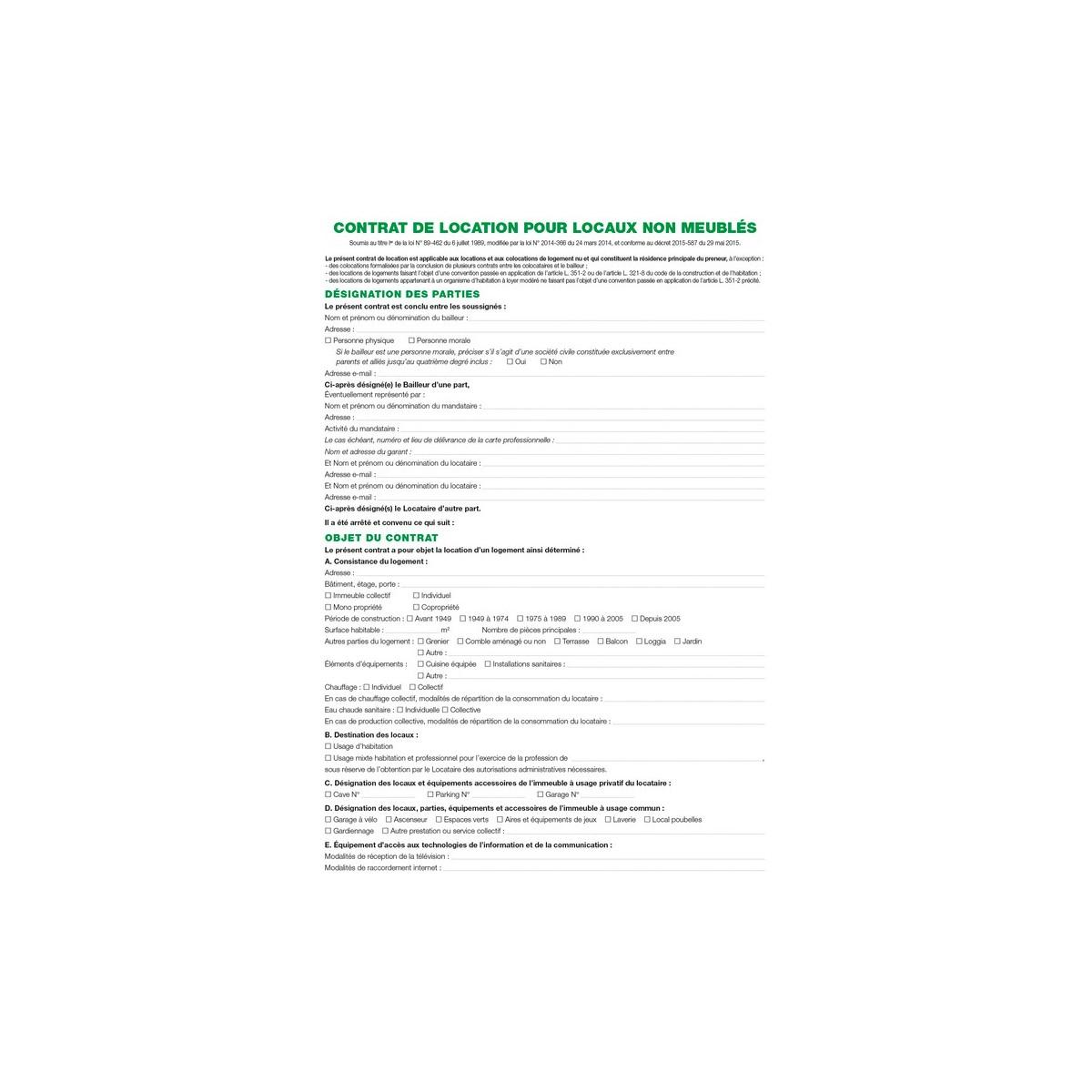 1X Contrat De Location Pour Locaux Non Meublés Exacompta avec Contrat De Location Meublé Gratuit