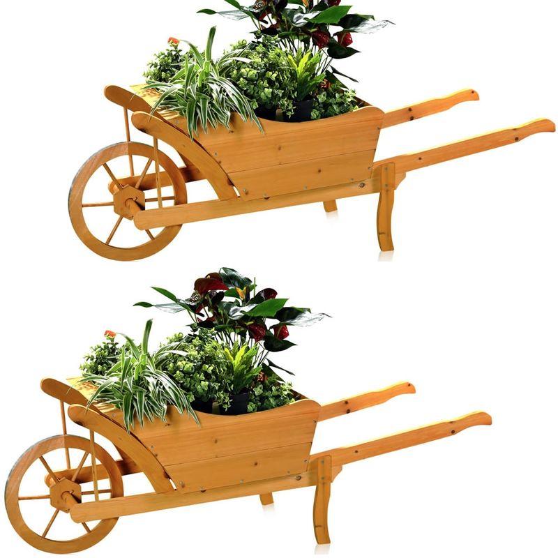 2X Jardin, Chariot À Plantes En Bois, La Brouette concernant Brouette Deco Jardin