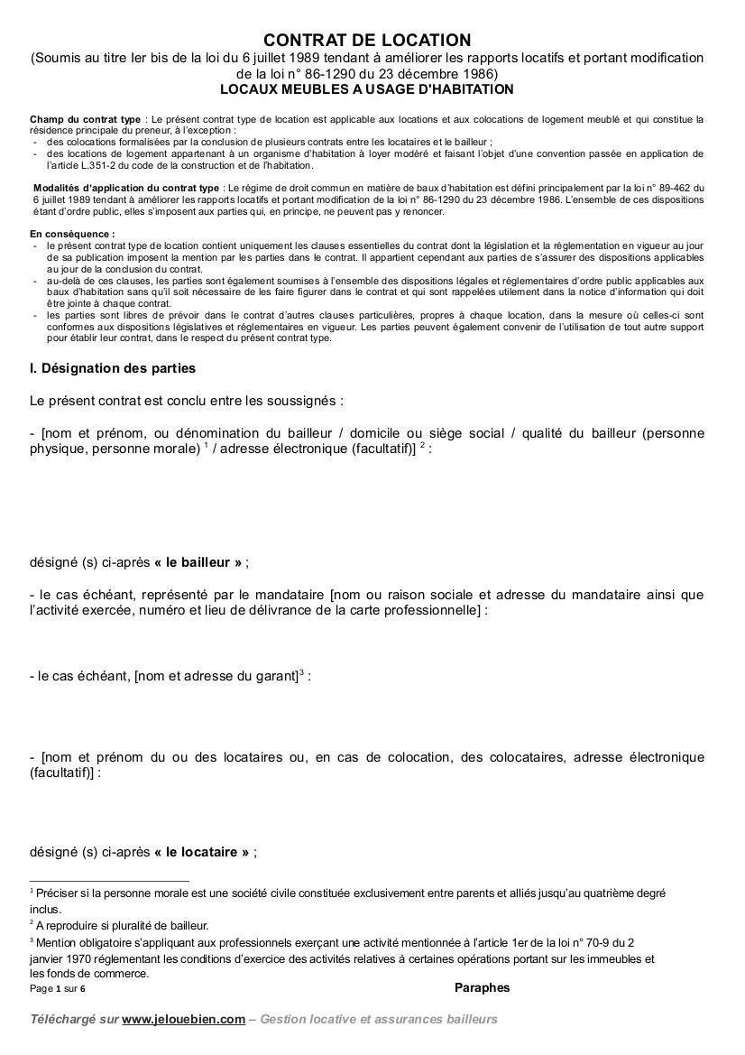 83 Conception Contrat Location Meublé Gratuit encequiconcerne Contrat De Location Meublé Gratuit