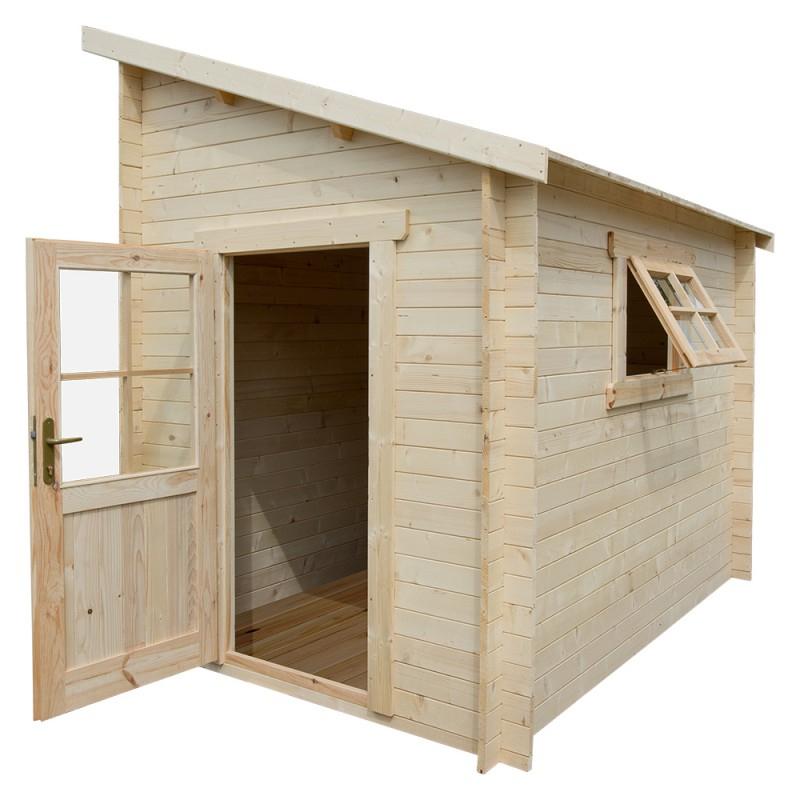 Abri Adossé En Bois Massif 28Mm Brut 5,92M² Gardy Shelter serapportantà Abri De Jardin En Bois Namur