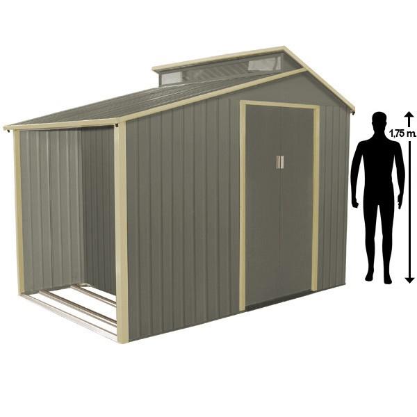 Abri De Jardin Avec Bûcher En Métal 3,14 M² + Kit D concernant Abri De Jardin Avec Bucher
