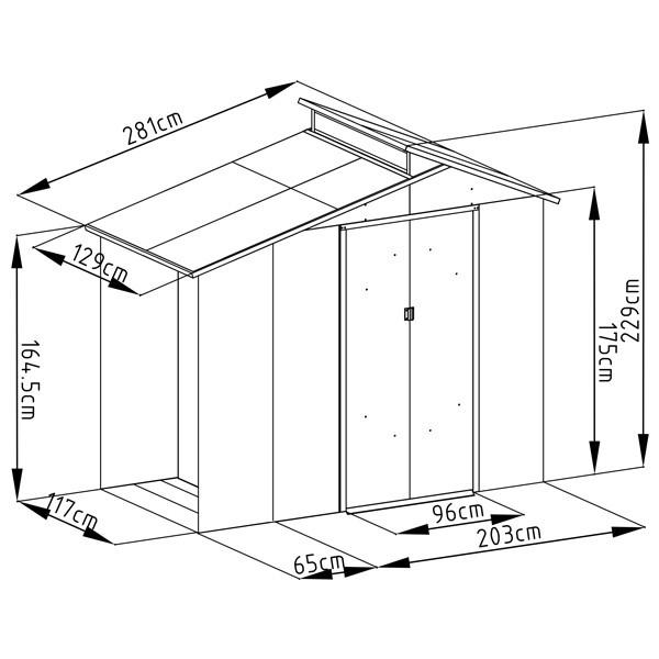 Abri De Jardin Avec Bûcher En Métal 3,14 M² + Kit D pour Abri De Jardin Avec Bucher