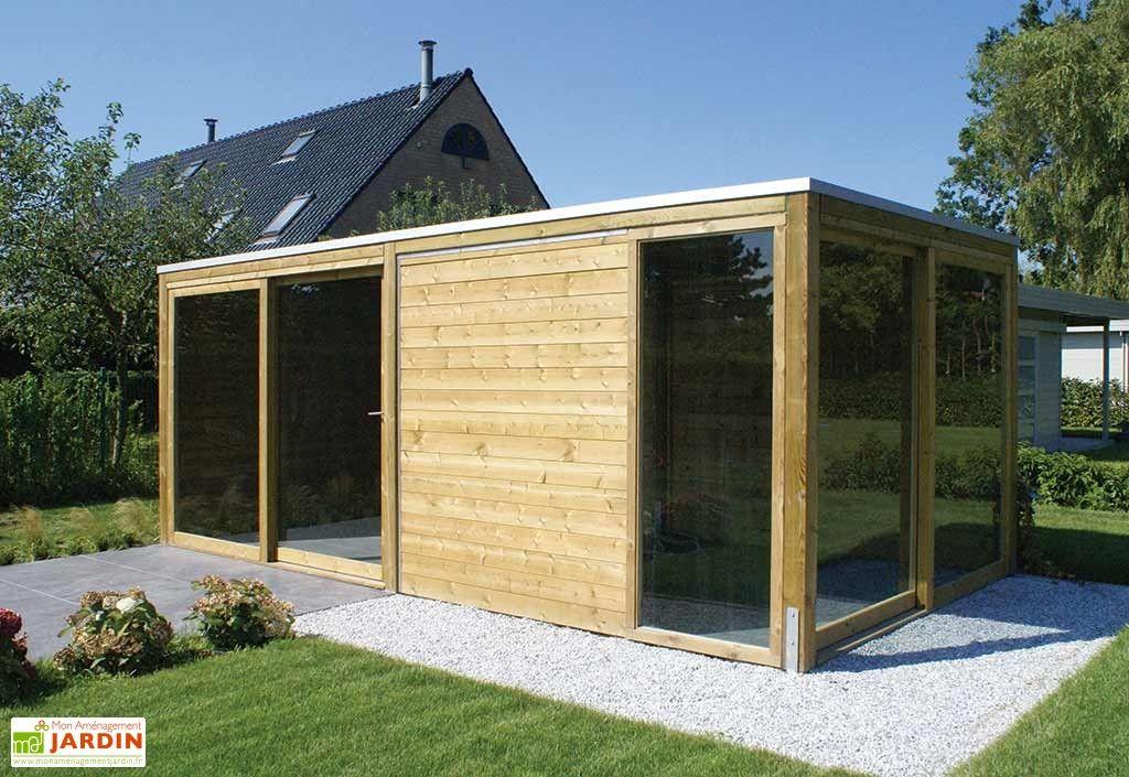 Abri De Jardin Bois + 2 Baies Vitrées Exterior (600X300Cm à Abri De Jardin En Longueur