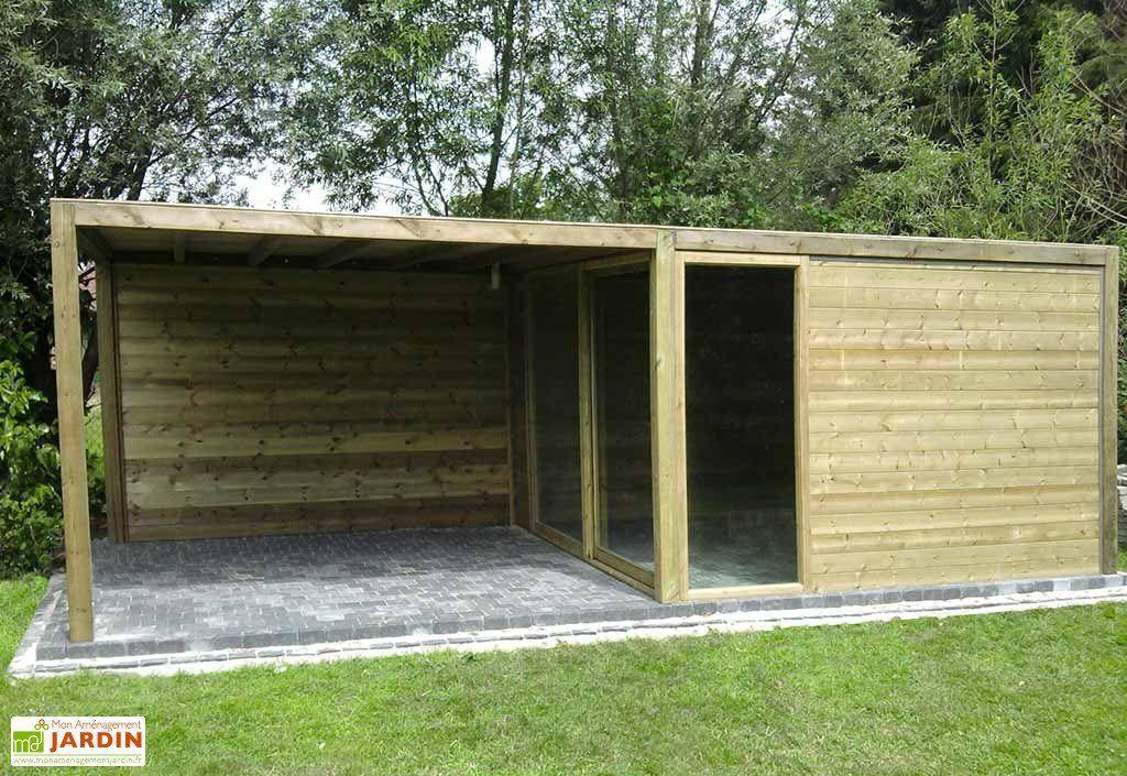 Abri De Jardin Bois + Baie Vitrée + Auvent Exterior concernant Abri De Jardin Gardival