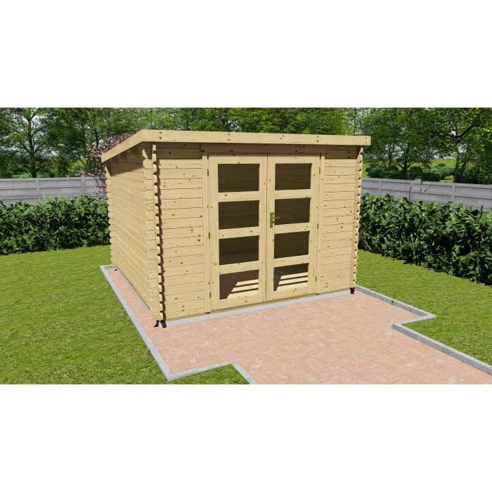 Abri De Jardin Bois Brut Fsc - Toit Plat - Surface 9,27M² encequiconcerne Abris Jardin Toit Plat