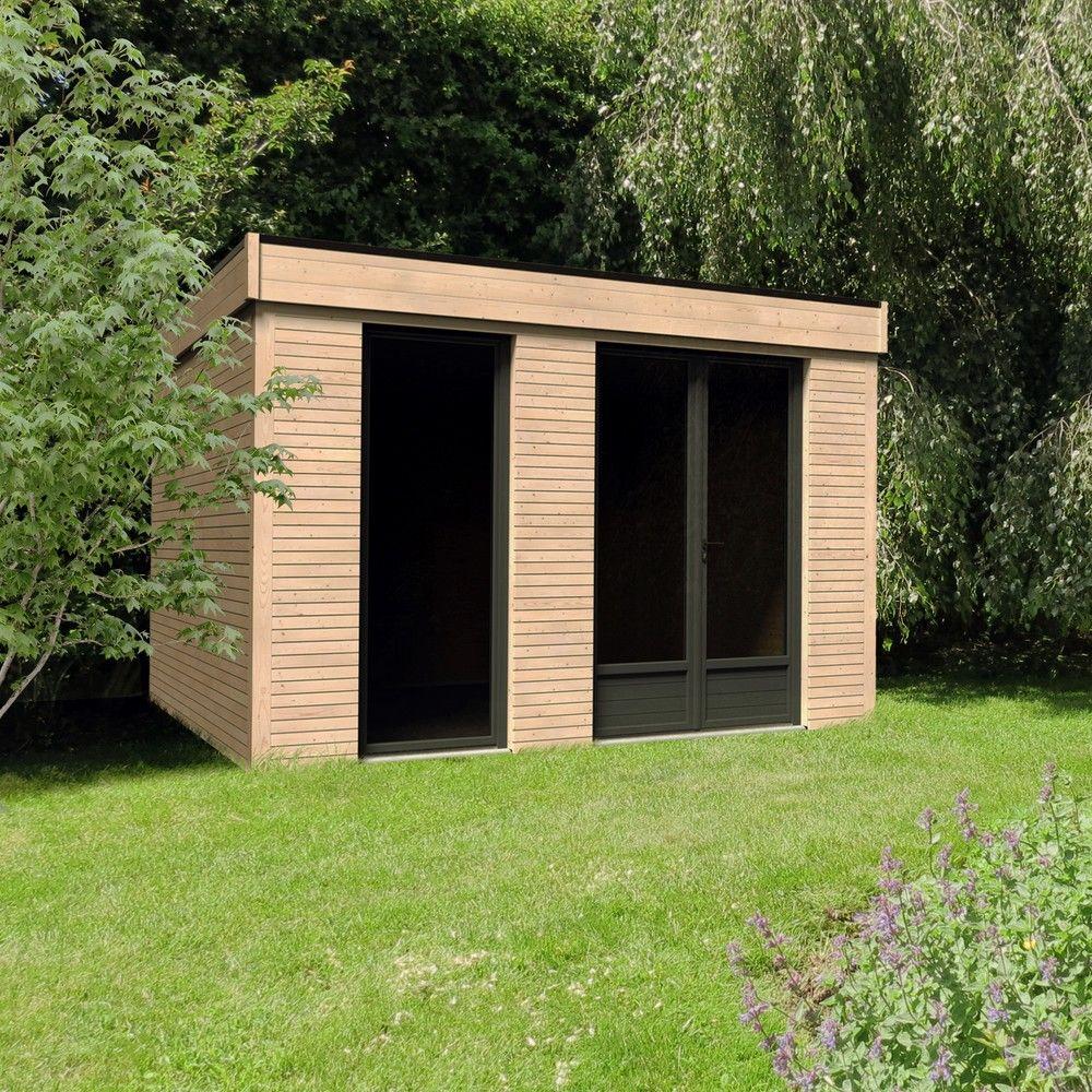 Abri De Jardin Bois Toit Plat 10,91 M² Ep. 90 Mm Décor serapportantà Abris Jardin Toit Plat