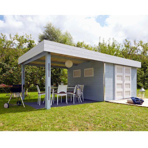 Abri De Jardin Bois Toit Plat + Auvent 20.37 M² Ep. 28 Mm à Abri De Jardin Toit Plat 20M2