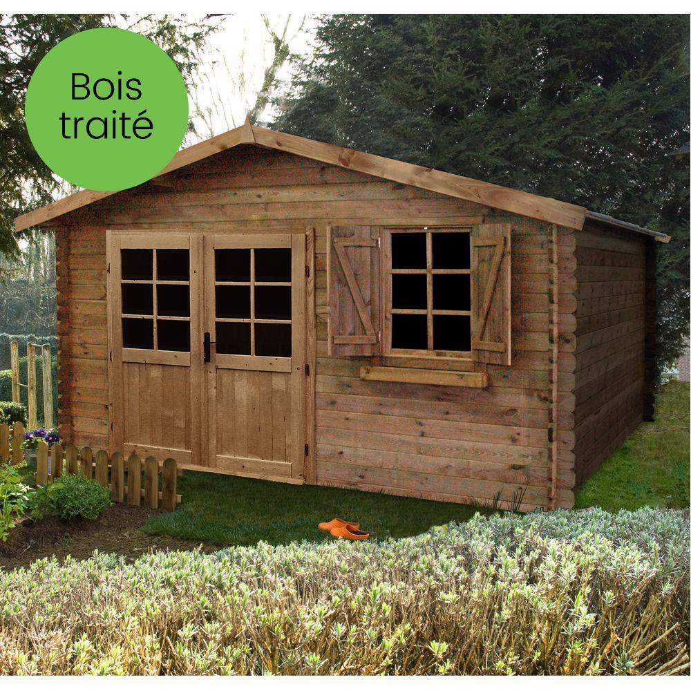 Abri De Jardin Bois Traité Autoclave 17,39 M² Ep. 28 Mm avec Abri De Jardin Yardmaster 12M2