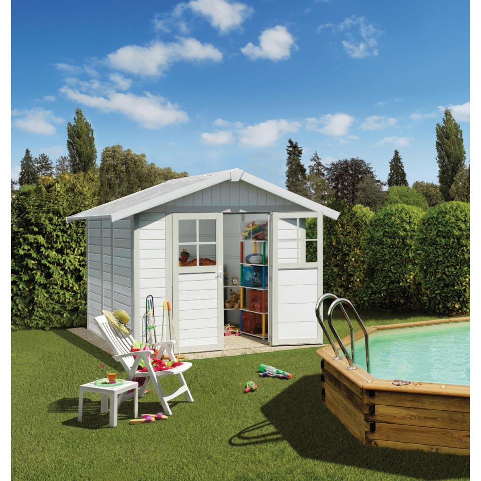 Abri De Jardin Déco 4,9 M² Blanc - Gris_Vert serapportantà Abri De Jardin Discount