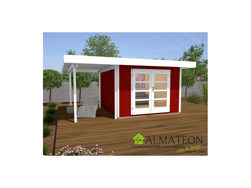 Abri De Jardin Design De 10M2 Avec Extension 175Cm Rouge tout Abri Jardin 10M2