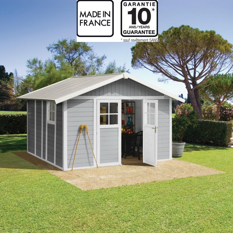 Abri De Jardin En Pvc 11,2M² Deco Gris Clair Et Blanc destiné Abris De Jardin Grosfillex