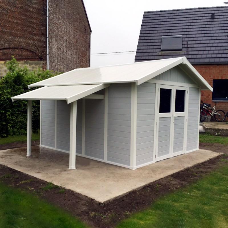Abri De Jardin En Pvc 11,2M² Deco Gris Clair Et Blanc encequiconcerne Abris De Jardin Grosfillex