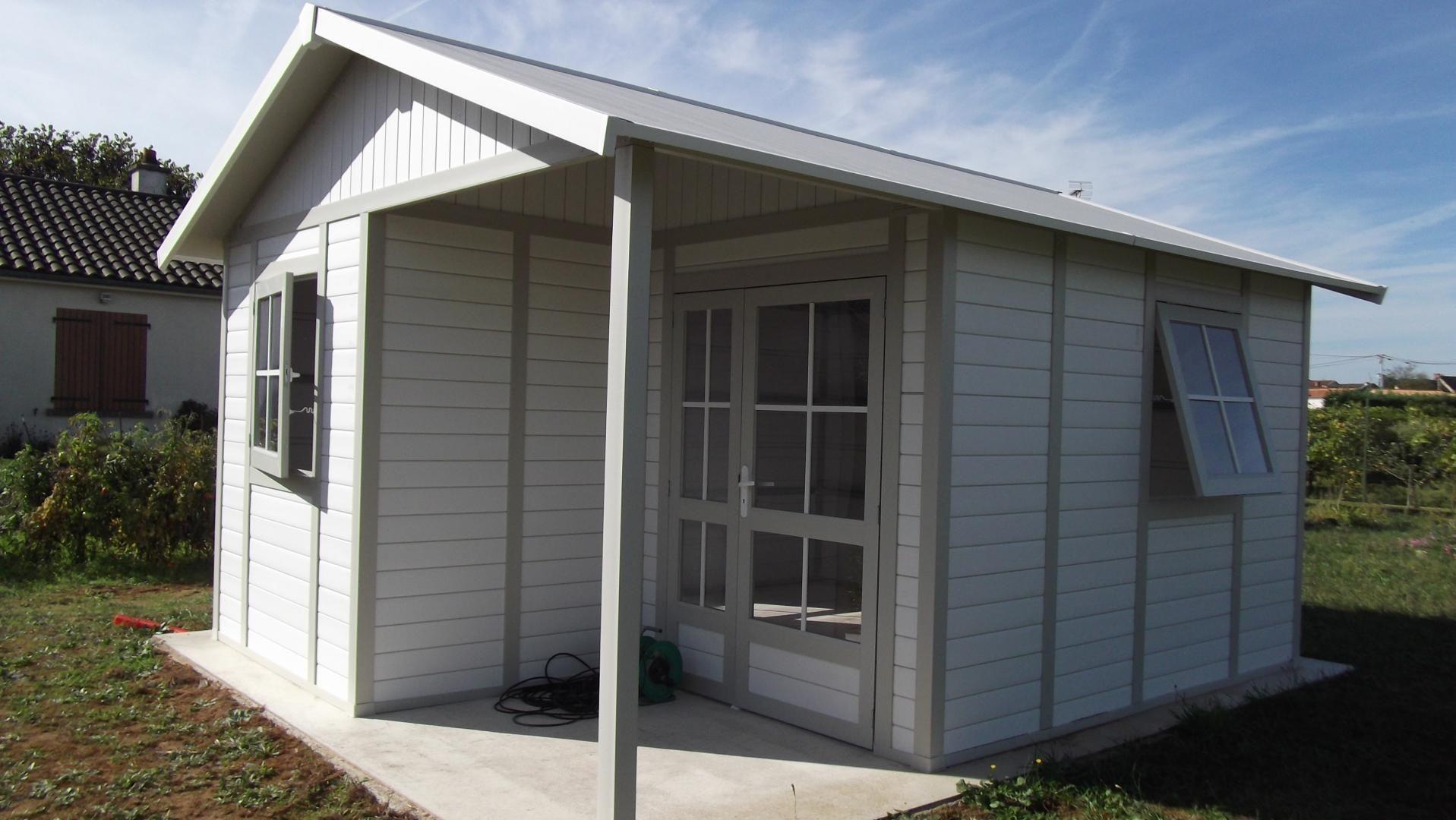 Abri De Jardin En Pvc 19,87M² Deco 20B Blanc Et Gris Vert dedans Abris De Jardin Grosfillex