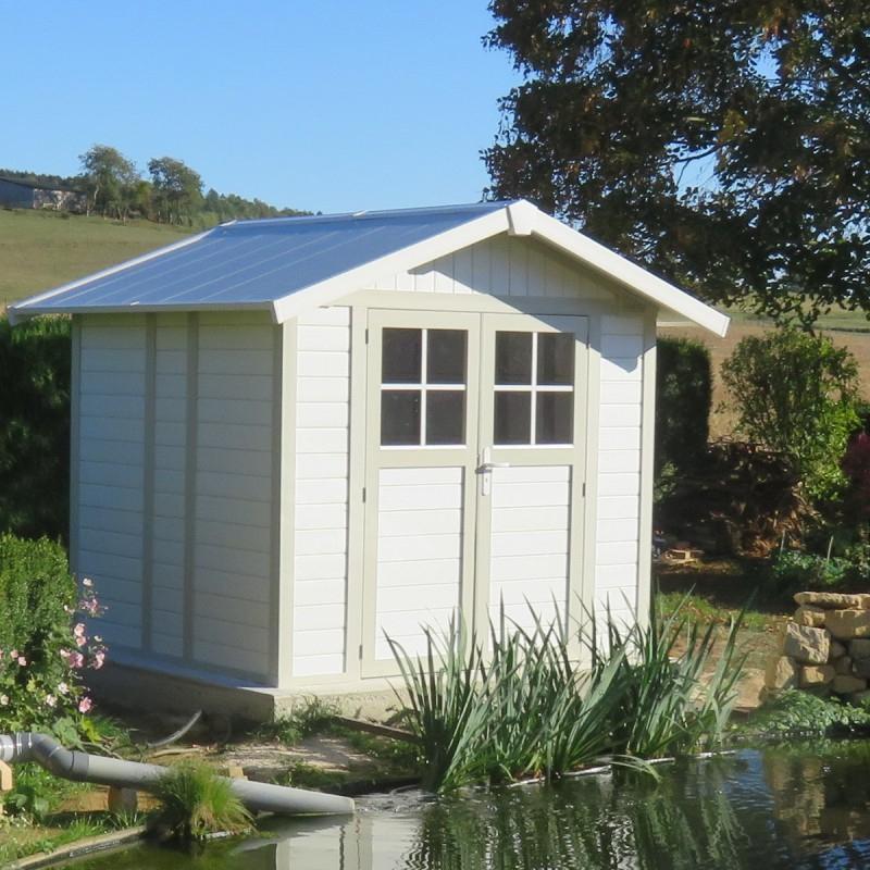 Abri De Jardin En Pvc 4,9M² Deco Blanc Et Gris Vert Grosfillex tout Abris De Jardin Grosfillex
