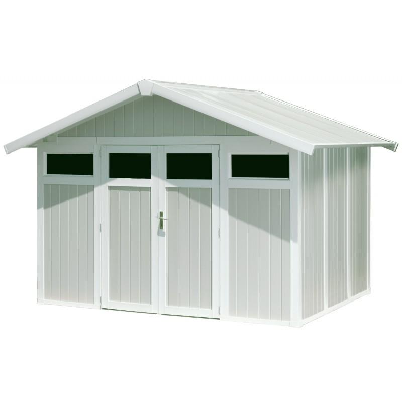 Abri De Jardin En Pvc 7,53M² Utility Blanc Et Gris Vert intérieur Abris De Jardin Grosfillex