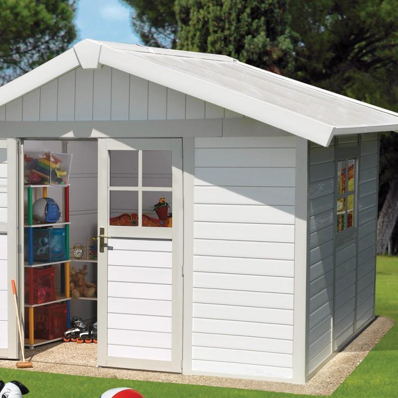 Abri De Jardin En Pvc 7,5M² Deco Blanc Et Gris Vert Grosfillex pour Abri De Jardin En Pvc