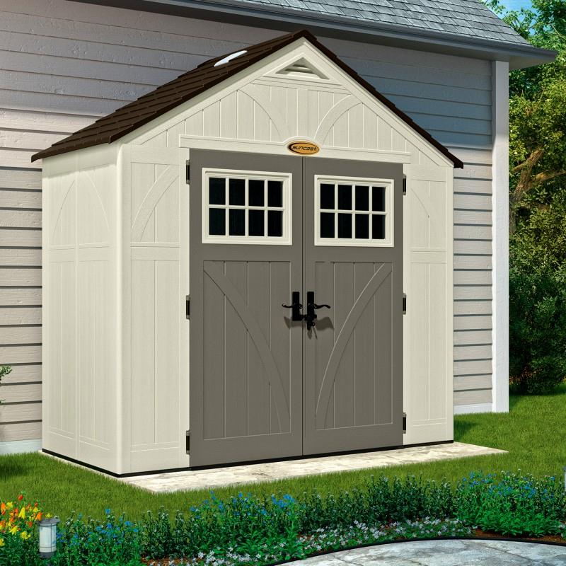 Abri De Jardin En Résine 35Mm 3,45M² Woodgrain + Plancher pour Abri De Jardin Discount