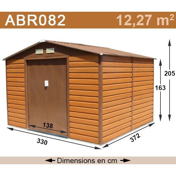 Abri De Jardin Métal 12,27 M2 Coloris Aspect Bois + Kit D tout Cabane Jardin Metal