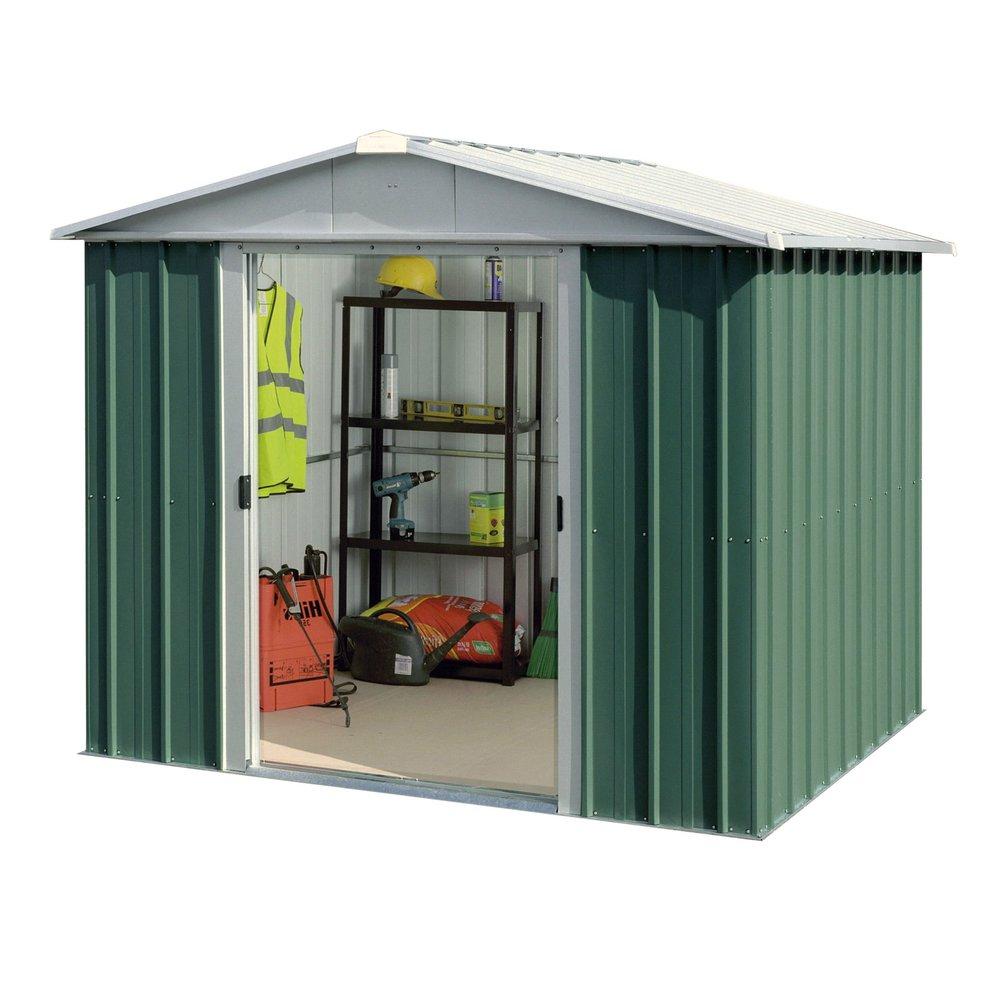 Abri De Jardin Métal 5,25 M2 - Vert Et Alu | Maison Et Styles dedans Abri De Jardin 5 M2