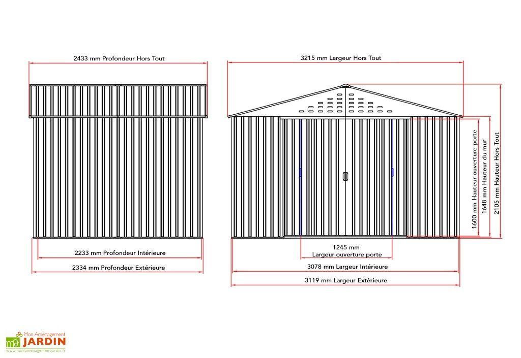 Abri De Jardin Metal Duramax Colossus 321X242X210Cm (L,L,H dedans Abri De Jardin En Longueur