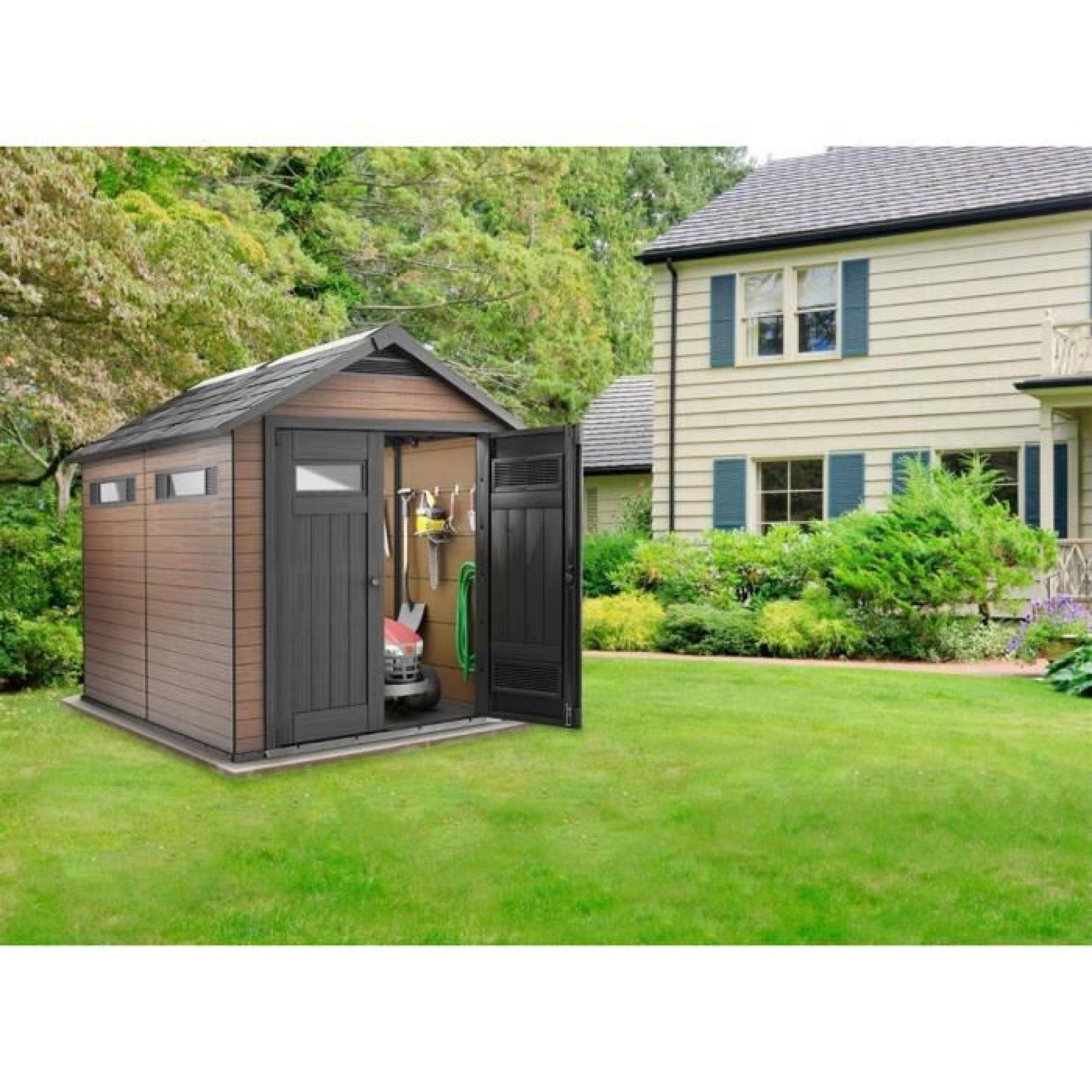 Abri De Jardin Résine En Composite Bois Marron, 229 X 287 avec Abri De Jardin Composite