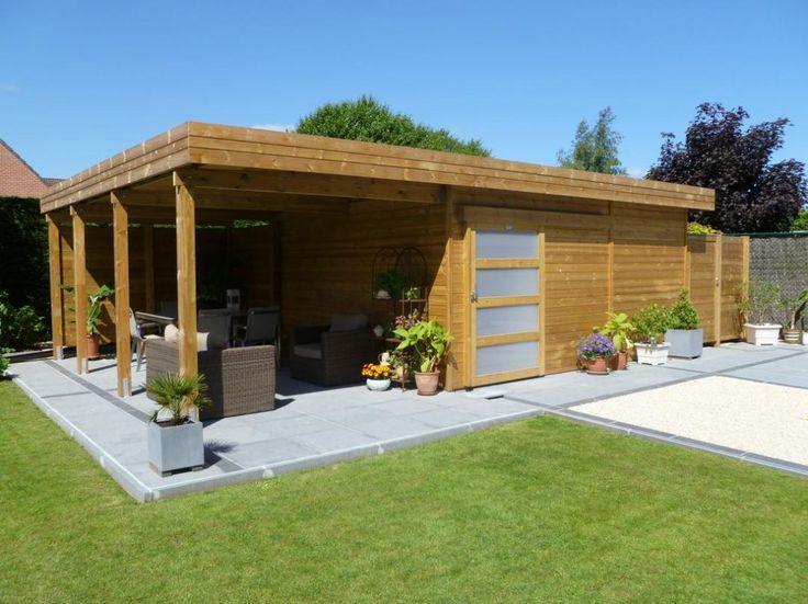 Abri De Jardin Toit Plat En Bois Avec Terrasse | Abri De concernant Abris Jardin Toit Plat