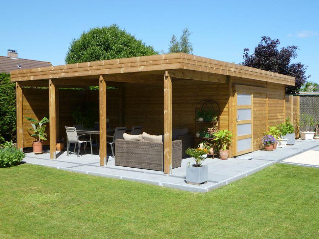 Abri De Jardin Toit Plat En Bois Avec Terrasse En 2019 encequiconcerne Abri De Jardin Moderne Design