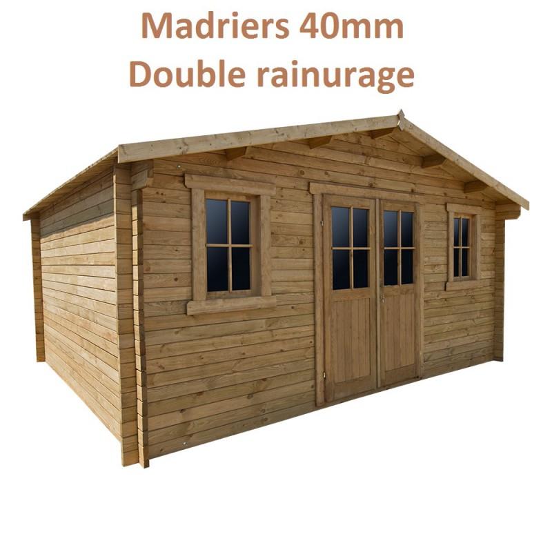 Abri En Bois Massif Sans Fenêtre 19,8M² Plus 40Mm Traité à Abri De Jardin 20M2 Castorama