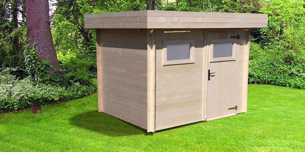 Abri Jardin Bois Toit Plat 13Mc Av Terrasse 4040B Avec à Abri De Jardin Composite