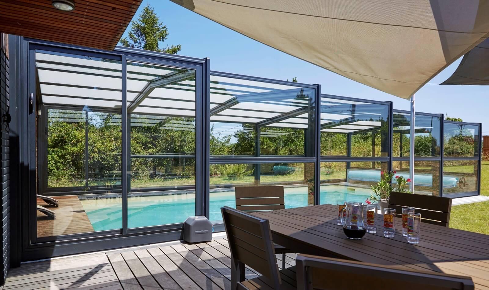 Abri Piscine Haut - Modèles Télescopiques / Coulissants intérieur Abri De Terrasse Coulissant