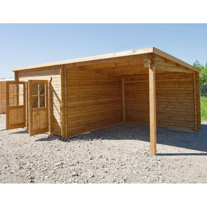 Abri Toit Plat 9M² Plus + Terrasse 9M² Traité Marron Gardy à Abri De Jardin Toit Plat 20M2