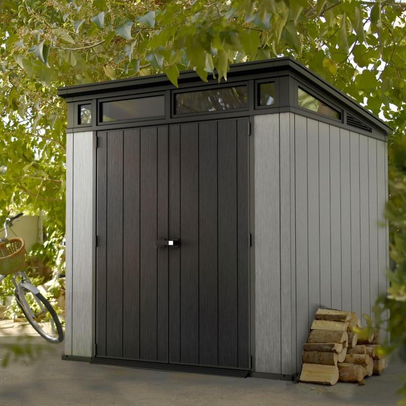 Abri Toit Plat En Résine Brossée Brossium 4,7M² + Plancher dedans Abri De Jardin Monopente