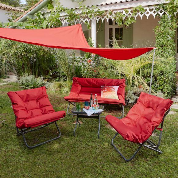 Alinéa - Shrink Salon De Jardin Pliant Rouge En Tissu Et encequiconcerne Alinea Fauteuil Jardin