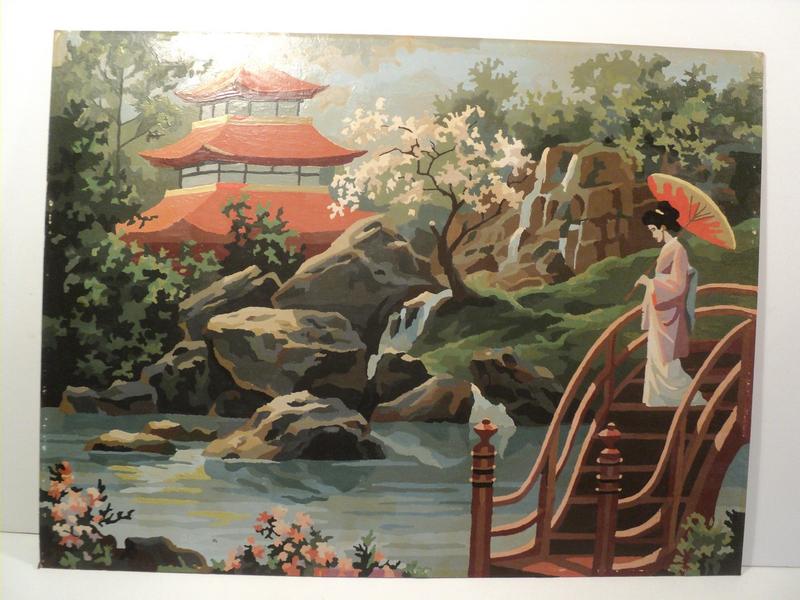 Ancien Tableau Paysage Jardin Japonais Signé R. Fernand serapportantà Modele Jardin Japonais