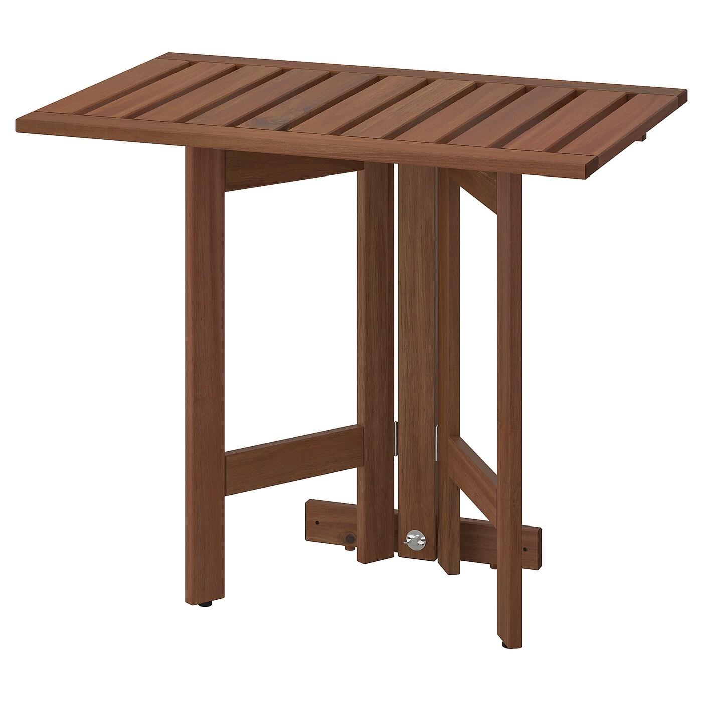 Äpplarö Table Murale Pliante, Extérieur - Teinté Brun 80X56 Cm avec Table Salle A Manger Pliante Ikea