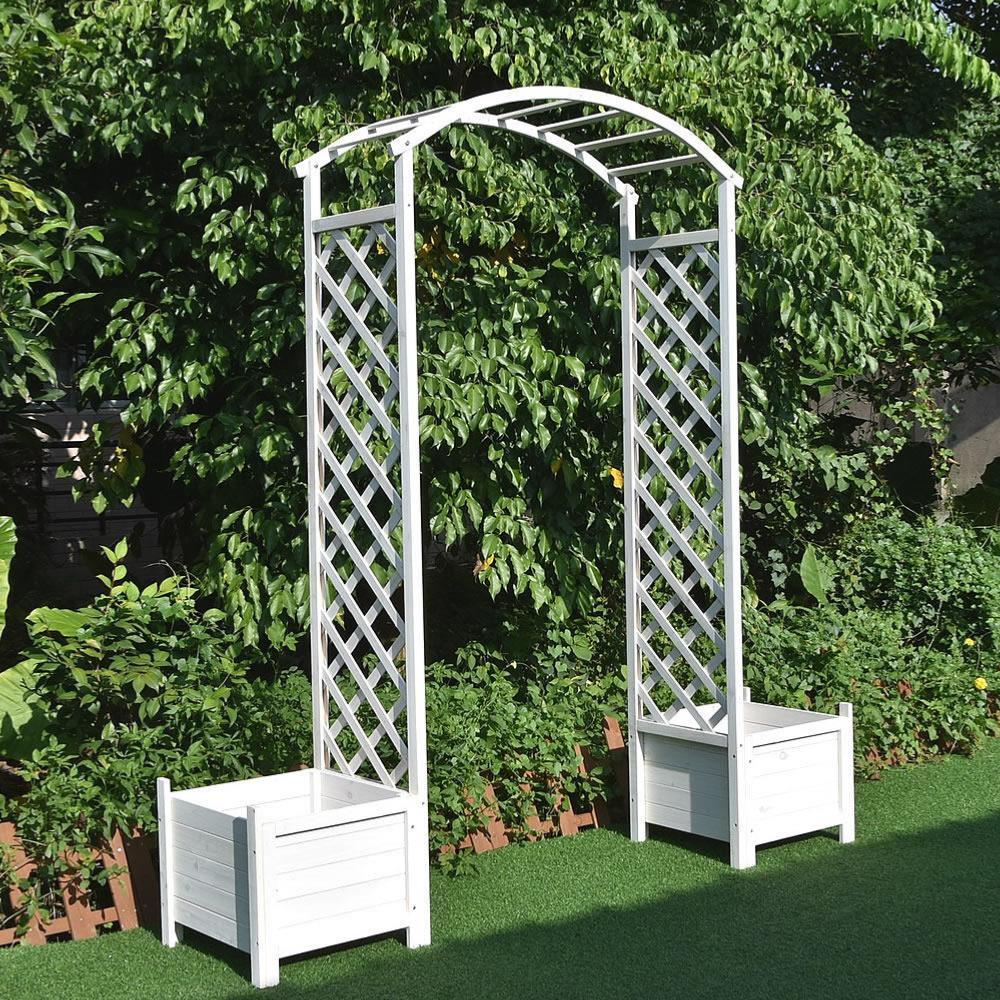 Arche De Jardin Avec 2 Jardinières Blanche Cielterre-Commerce à Arche De Jardin En Bois