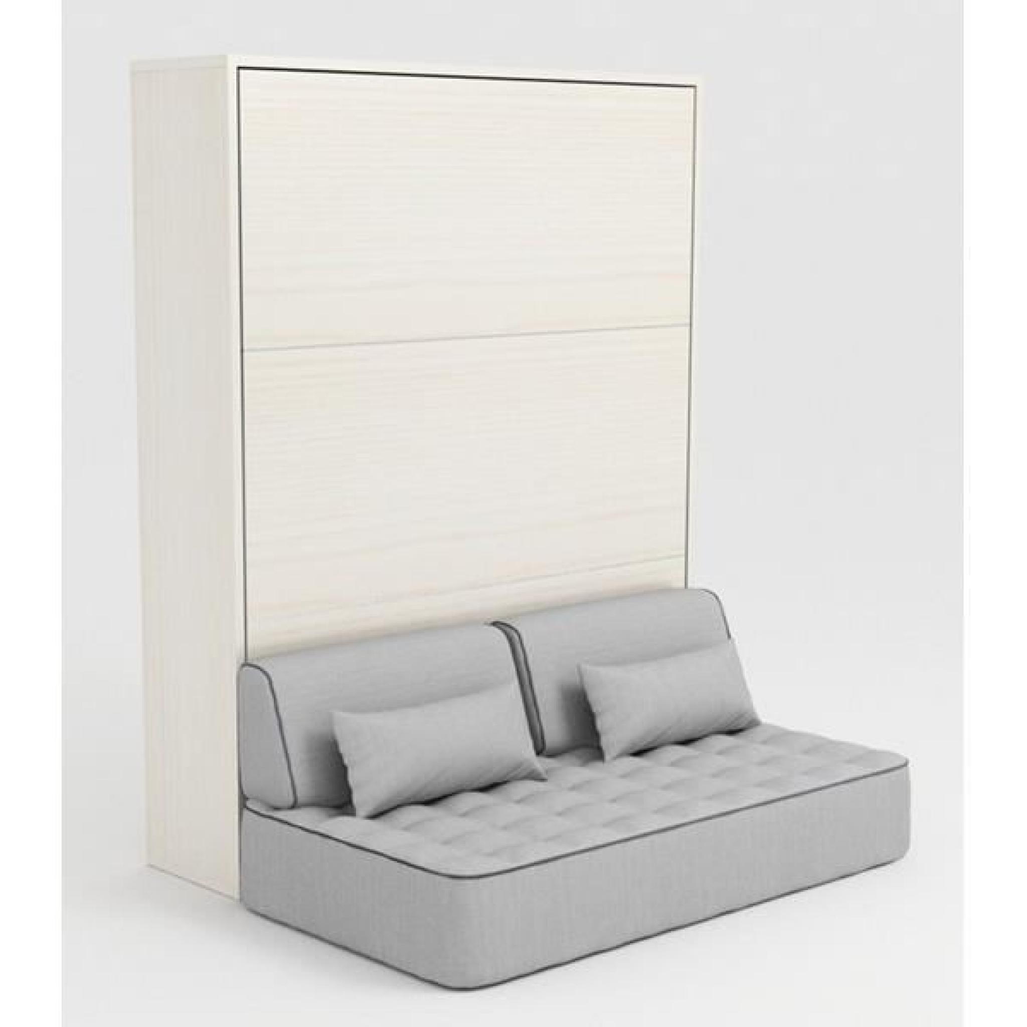 Armoire Lit Escamotable Stone 160X200 Blanc Canapé - Achat pour Lit Escamotable 2 Personnes Pas Cher