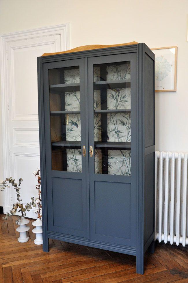 Armoire Parisienne Vitrée Gris Bleu | Armoire Parisienne destiné Meuble De Vitrine