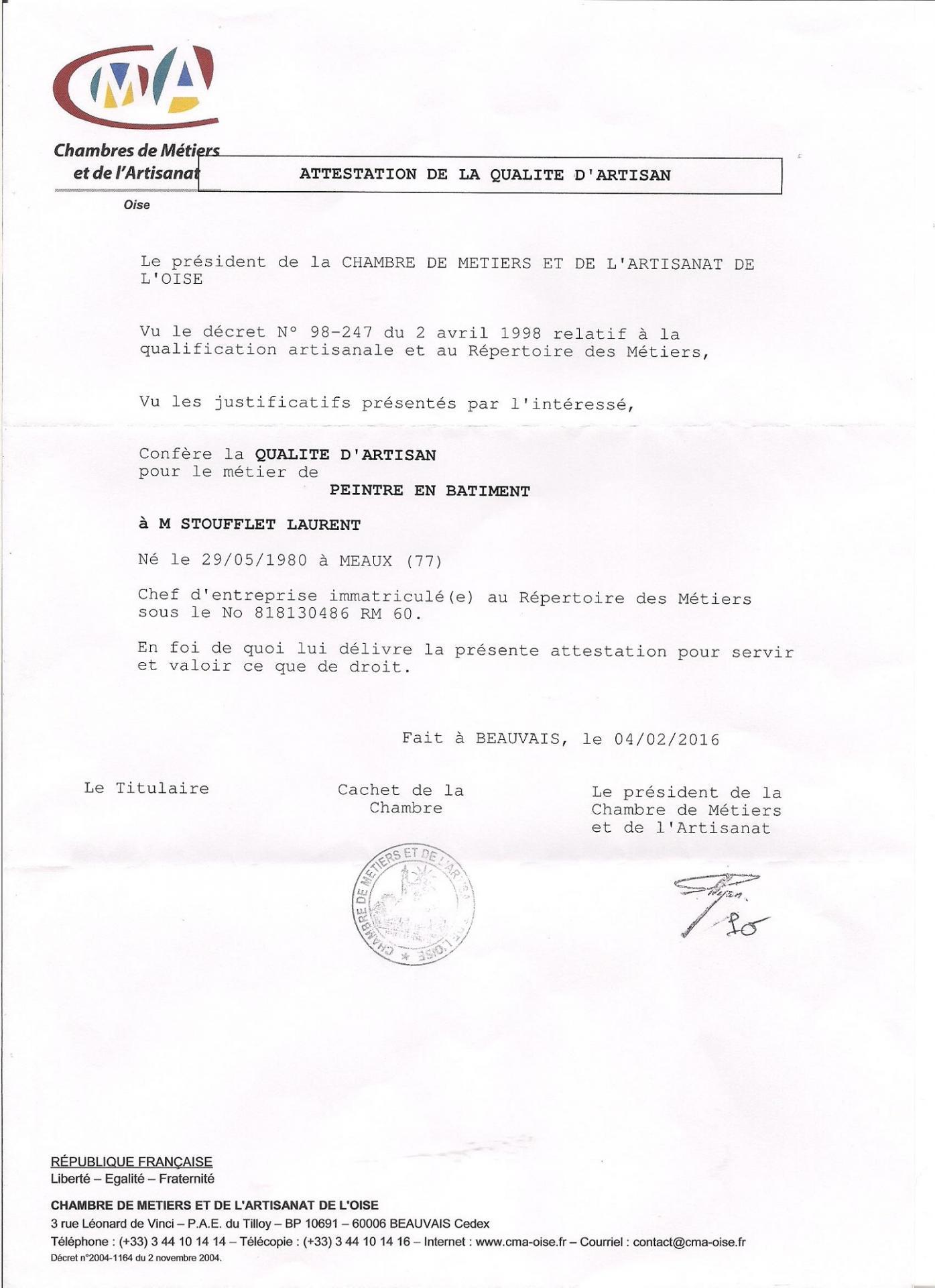 Attestations De La Qualité D'Artisan Et Garanties concernant Chambre Des Metiers Blois