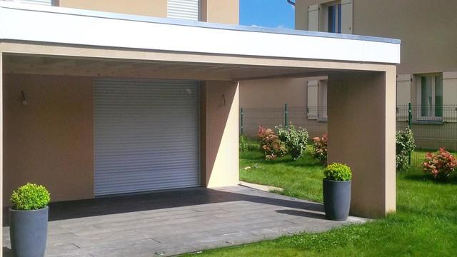 Auvent Sur Ossature Beton Thonon - Moderne - Terrasse Et intérieur Abri De Jardin Thonon