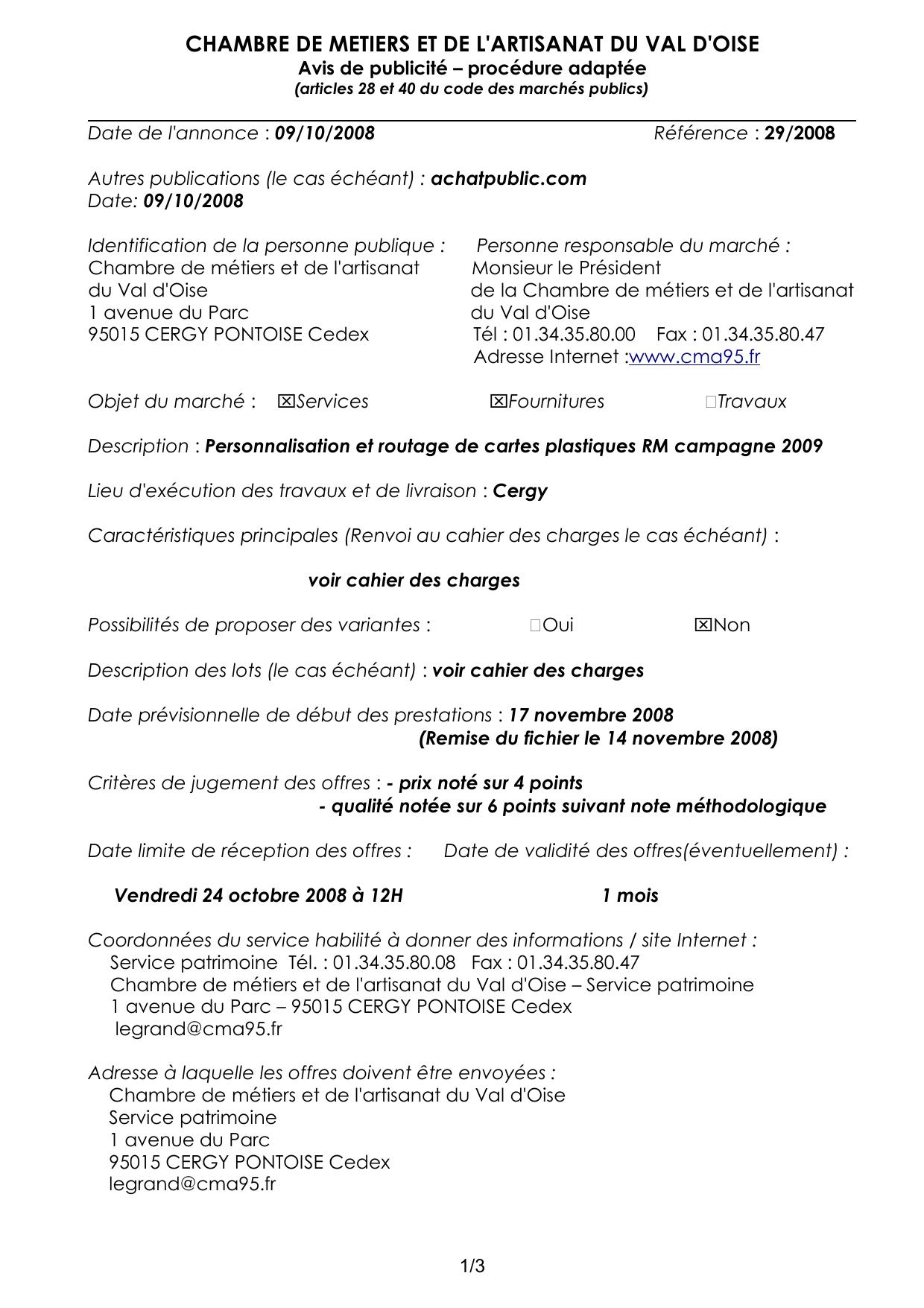 Avis De Publicité Et Cahier Des Charges dedans Chambre Des Metiers Cergy