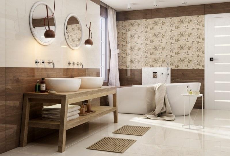 Badezimmer In Beige Modern Gestalten - Tipps Und Ideen à Meuble Braun