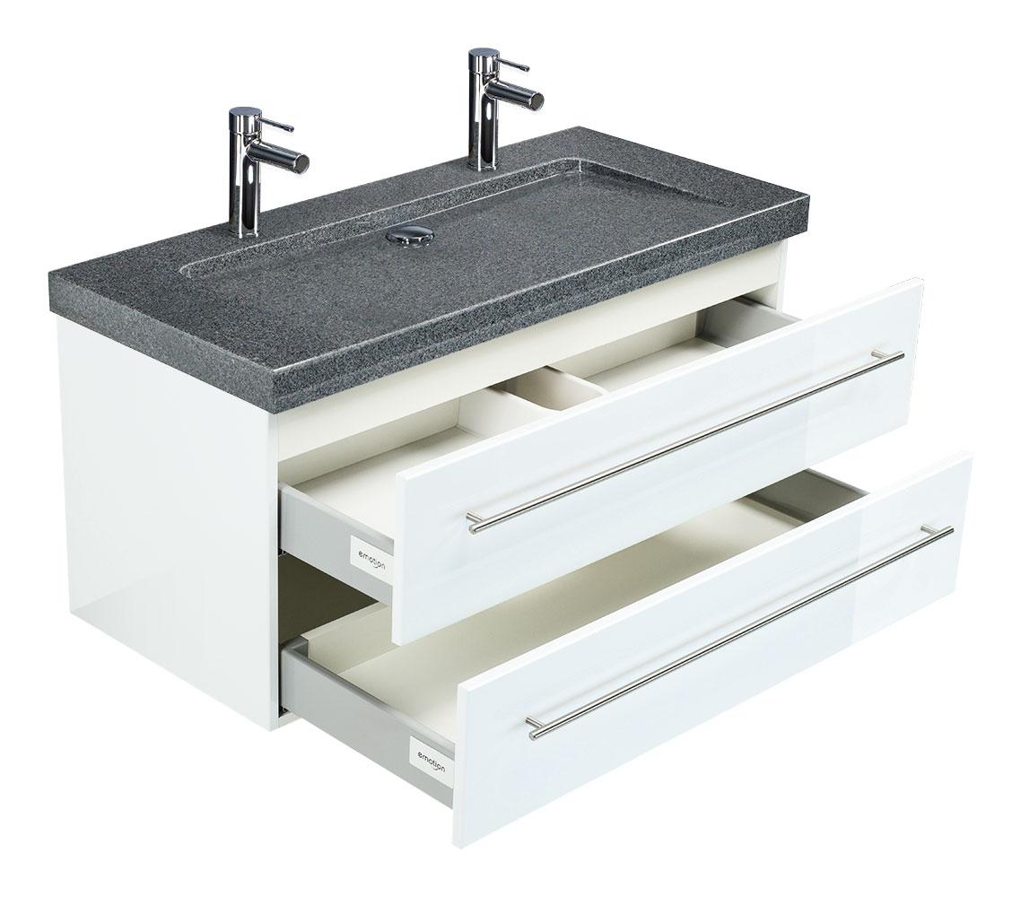 Badmöbel Granit G654 Damo 100 2 Hahnlöcher Weiß Hochglanz & Led Spiegel 100  Cm serapportantà Vasque 100 Cm 2 Robinets