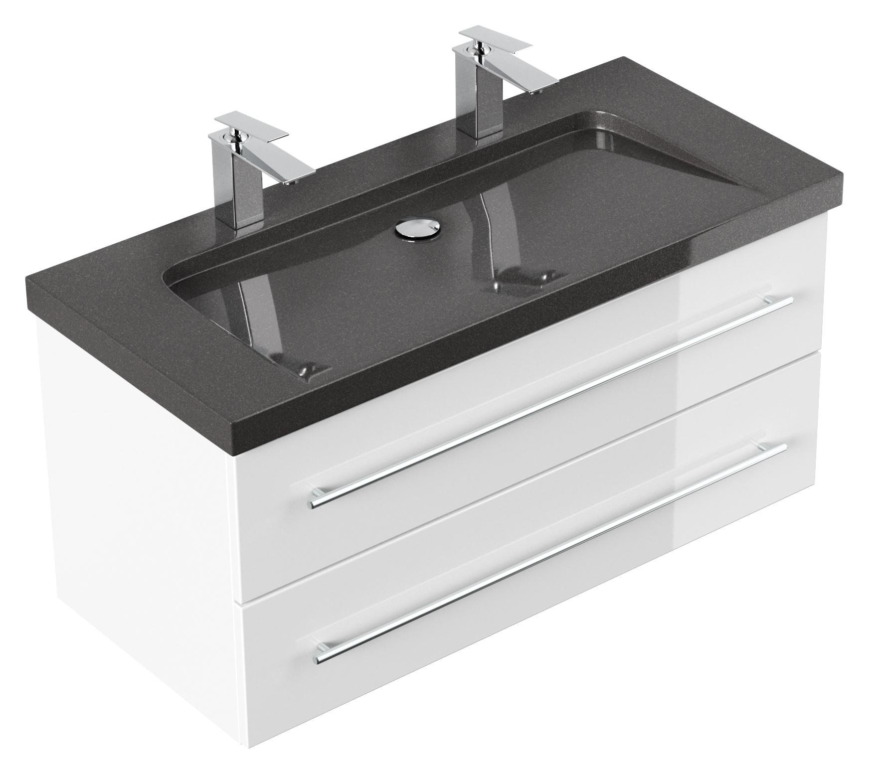 Badmöbel Granit India Black Damo 100 Cm 2 Hahnlöcher Weiß destiné Vasque 100 Cm 2 Robinets
