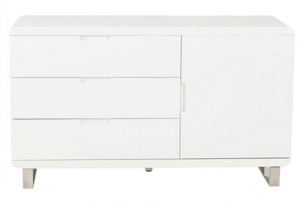 Bahut Laque Blanc, Shiny - Meuble Blanc Laque Salon encequiconcerne Meuble Tv Blanc Laqué Pas Cher