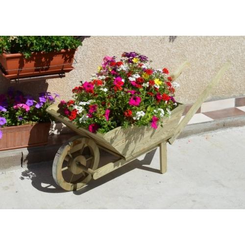 Brouette En Bois De Décoration Pour Jardin, Terrasse Et serapportantà Brouette Deco Jardin