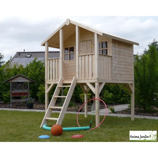 Cabane En Bois Surélevée Sur Pilotis, 3M², Toit Deux tout Cabane De Jardin En Bois Pas Cher