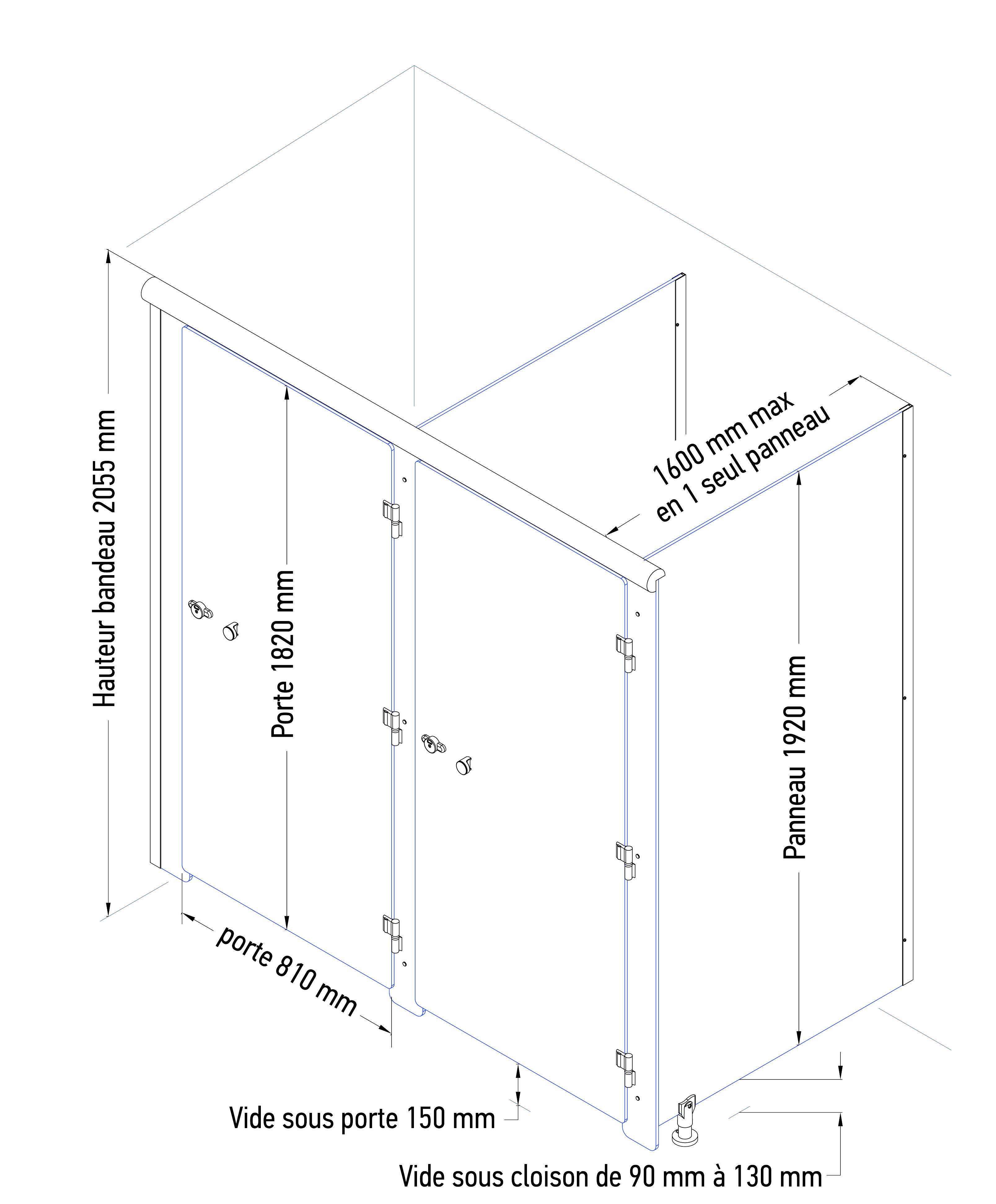 Cabine Cloisodouche 10 Mm - Cabines - Sanitec encequiconcerne Dimension Cabine De Douche