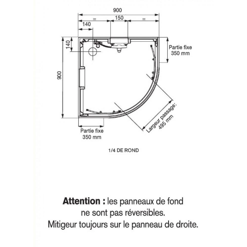 Cabine De Douche 1/4 De Cercle 90X90 Cm - Portes concernant Dimension Cabine De Douche